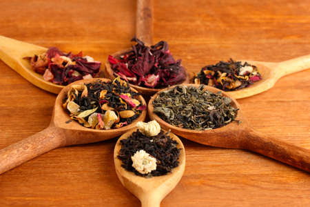 assortment of dry tea in spoons, on wooden background photo