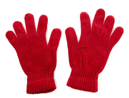woman knitted gloves, isolated on white photo