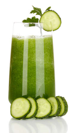 vegetable juice: Glass of cucumber juice isolated on white