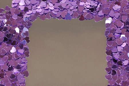 Hearts confetti on gray background Stock Photo - 16192635