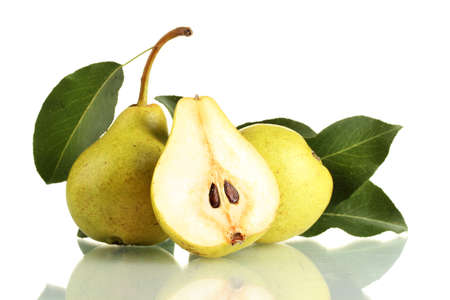 pear: Juicy flavorful pears isolated on white Stock Photo