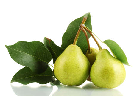 Juicy flavorful pears isolated on white Foto de archivo