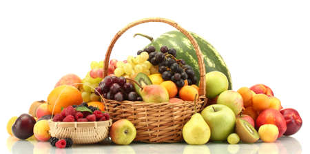 exotic fruits: Assortment of exotic fruits and berries in baskets isolated on white