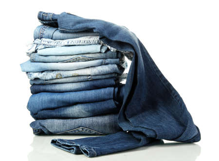 Lot of different blue jeans isolated on white Stock Photo - 16275374