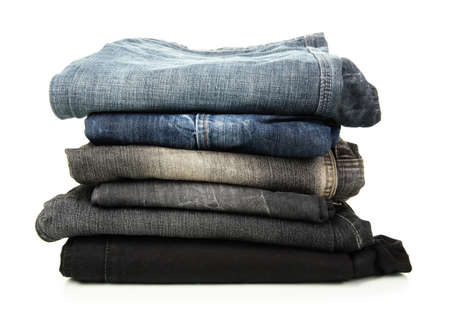Lot of different jeans isolated on white Stock Photo - 16275366