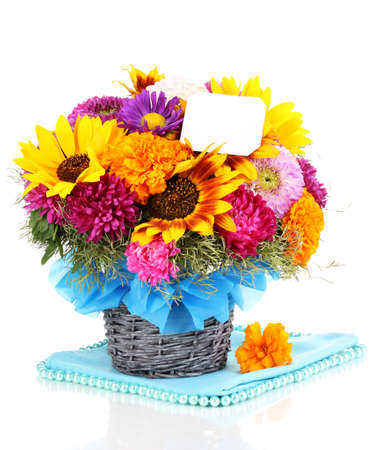 Beautiful bouquet of bright flowers with paper note isolated on white photo