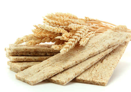 tasty crispbread and ears, isolated on white photo