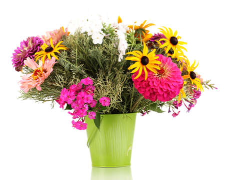 ronantic: Beautiful bouquet of bright flowers in pail isolated on white