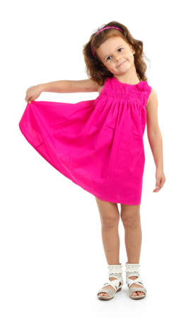 beautiful little girl in dress isolated on white Stock Photo - 16547535