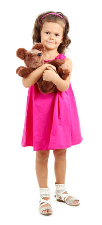 beautiful little girl with toy bear isolated on white Stock Photo - 16547538
