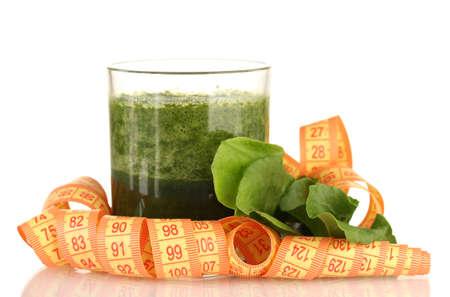 vegetable juice: Green vegetable juice isolated on white