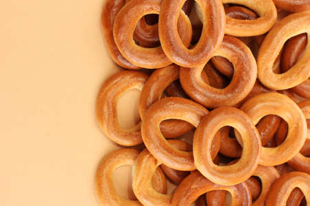 baranka: tasty bagels, on beige background