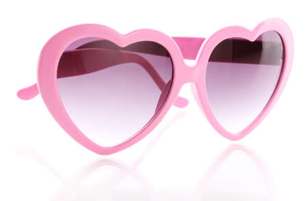 Pink heart-shaped sunglasses isolated on white Stock Photo - 16345285