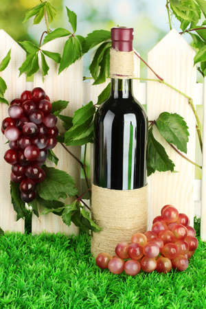 a bottle of wine on the fence background close-up Stock Photo - 16344832