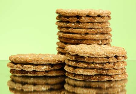 galettes: tasty crispbread, on green background
