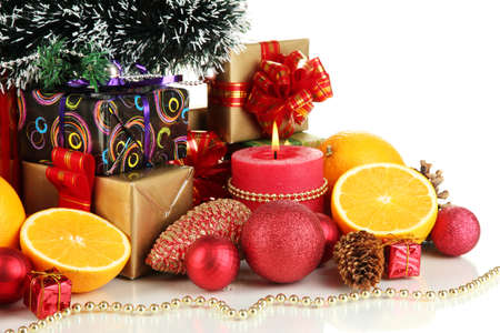 Composition from Christmas decorations isolated on white Stock Photo - 16344843