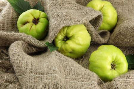quinces: sweet quinces, on burlap background Stock Photo