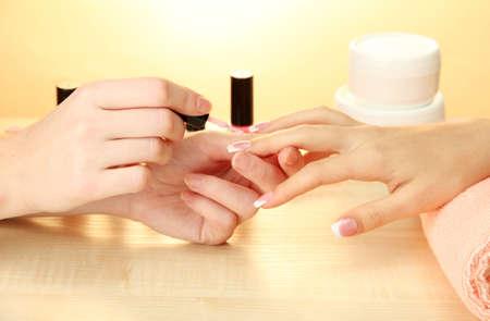 salon: Manicure process in beauty salon, close up