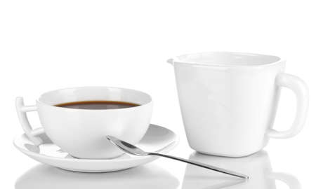 A cup of strong coffee and sweet cream isolated on white Stock Photo - 16344750