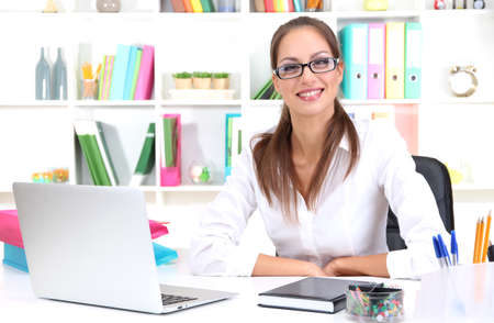 Young pretty business woman with notebook in office Stock Photo - 16546521
