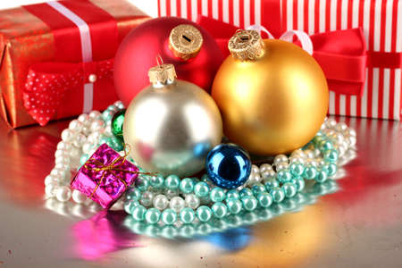 Christmas decoration and gift boxes on gray background Stock Photo - 16343764