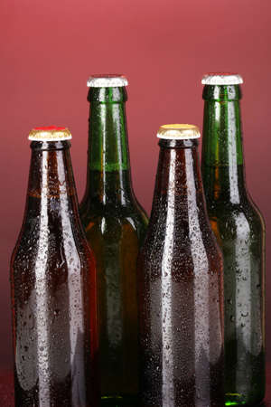 Coloured glass beer bottles on red background photo