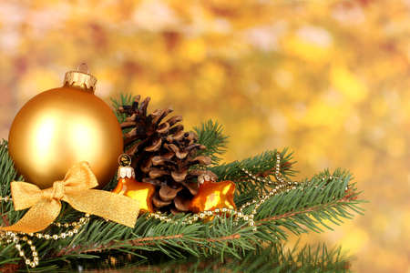 Christmas decoration on yellow background photo