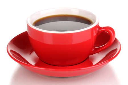 nosh: A red cup of strong coffee isolated on white Stock Photo
