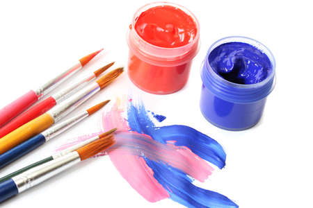 Abstract gouache paint, cans  and brushes, isolated on white Stock Photo - 16341717
