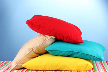 pillows on blue background photo