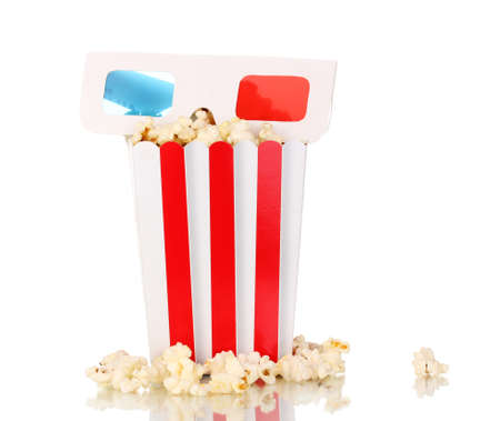 popcorn and glasses isolated on white photo