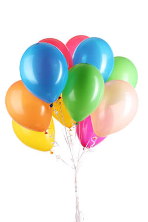 birthday balloon: Colorful balloons isolated on white