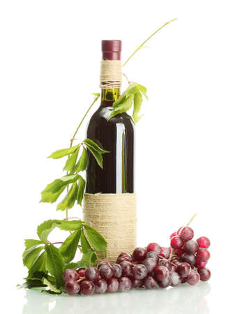 bottle of wine with grapes isolated on white Stock Photo - 16343517