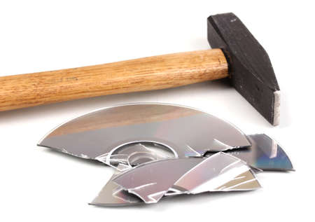 Disk broken hammer with information isolated on white photo