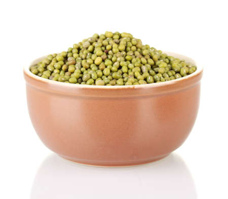 Green mung beans in bowl isolated on white Stock Photo - 16343310