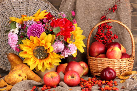 Colorful autumn still life with apples photo