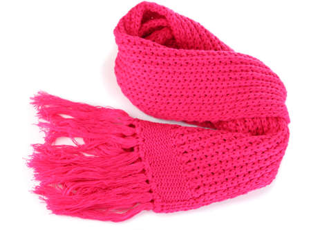 Warm knitted scarf pink isolated on white Stock Photo - 16342284