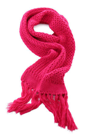 Pink knitted scarf isolated on white Stock Photo - 16342082
