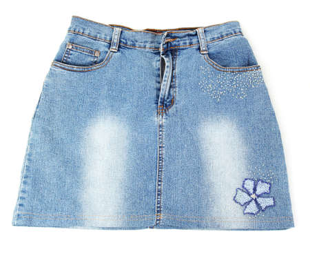 Blue denim mini skirt close-up isolated on white photo