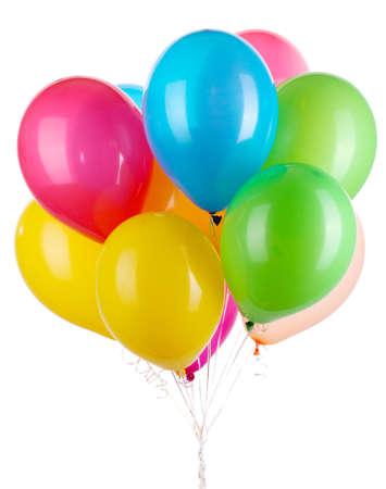 globos de cumplea�os: Globos de colores aislados en blanco