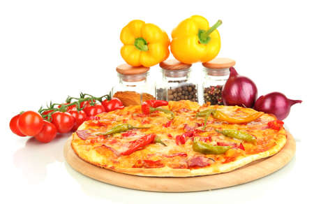 Tasty pepperoni pizza with vegetables on wooden board isolated on white Stock Photo - 16442835