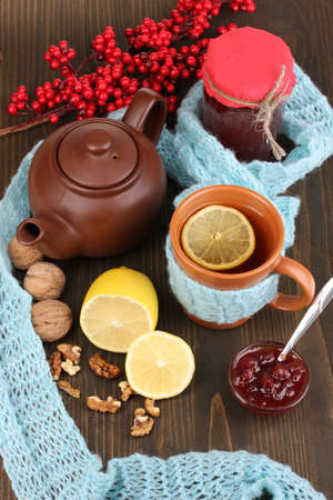 strengthening: Helpful tea with jam for immunity on wooden table close-up Stock Photo
