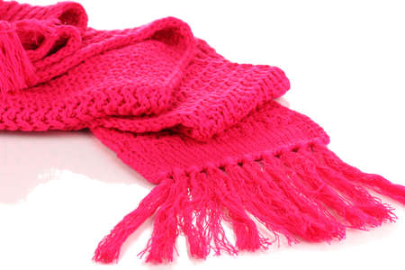 Warm knitted scarf pink isolated on white Stock Photo - 16468445