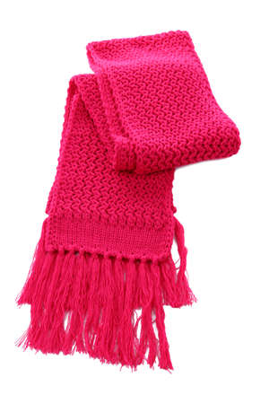 Pink knitted scarf isolated on white Stock Photo - 16472874
