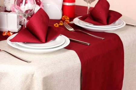 Elegant table setting in restaurant photo