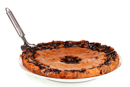 Tasty pie on plate isolated on white Stock Photo - 16472859