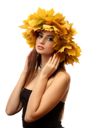 beautiful young woman with yellow autumn wreath, isolated on white Stock Photo - 16547179