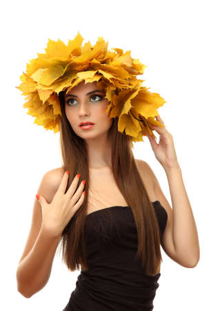 beautiful young woman with yellow autumn wreath, isolated on white Stock Photo - 16547180