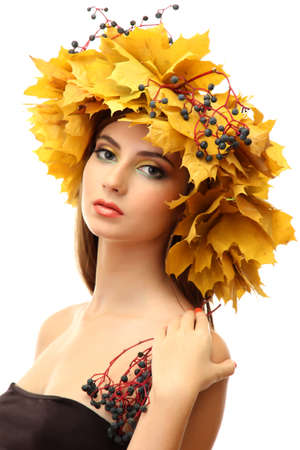 beautiful young woman with yellow autumn wreath, isolated on white Stock Photo - 16547178