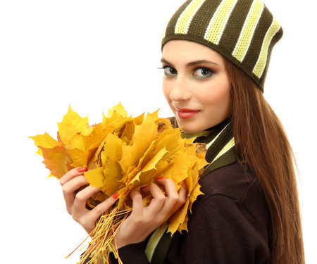 portrait of young woman with autumn maple leaves, isolated on white Stock Photo - 16547181